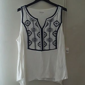 Embroidered Sleeveless Top Tank white and blue
